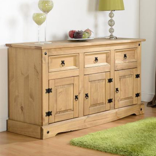 the best attitude e0456 018f5 Corona Waxed Pine 3 Drawer 3 Door Sideboard