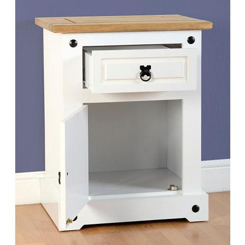 Corona White 1 Door 1 Drawer Bedside Cabinet Beautiful
