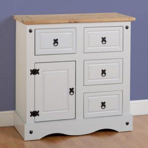 Corona 1 Door 4 Drawer Sideboard In Grey Distressed Waxed Pine. £137.50 ·  Images_gallery_med_CORONA_1_DOOR_4_DRAWER_SIDEBOARD_WHITE_01