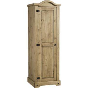 Corona 1 Door Wardrobe In Distressed Waxed Pine