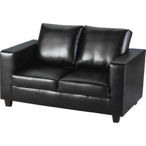 Tempo Two Seater Sofa In A Box In Black Faux Leather Beautiful