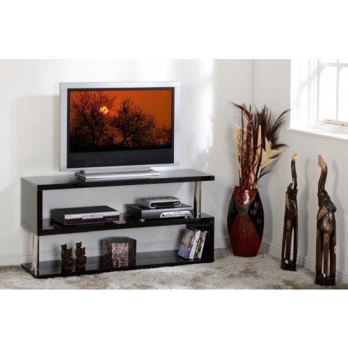 Charisma TV Stand In Black Gloss Chrome