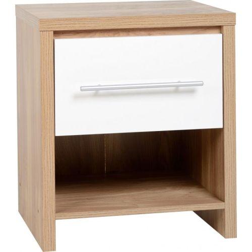 Seville 1 Drawer Bedside Cabinet In Light Oak Effect Veneer High Gloss White Beautiful Furniture Bits Norwich